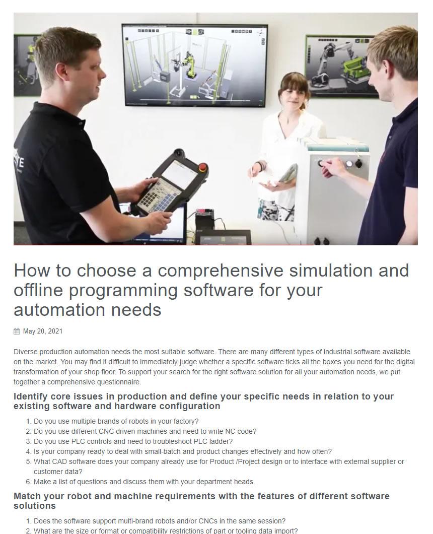 如何选择一款复杂的仿真和离线编程软件以应对自动化需求